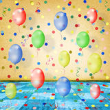 The dance room for the holidays with balloons Royalty Free Stock Images
