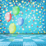 The dance room for the holidays with balloons Stock Photography