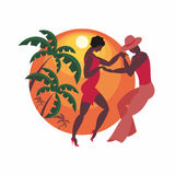 The dance salsa. Lady and gentleman dance Latin America salsa Royalty Free Stock Photos