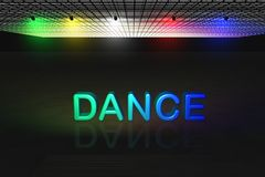 Dance scene. 3d scene with highlighted dance text in red on black background Royalty Free Stock Images