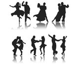 Dance. Set of six silhouettes of different types of dance Royalty Free Stock Images