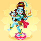 Dance of Shiva. Funny representation of eastern god, vector cartoon illustration Stock Images