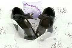 Dance shoes and ribbons Stock Images