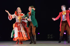 Dance show with Russian folk costumes. Of the 18th century, Petersburg, Russia royalty free stock images