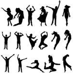 Dance a silhueta de muitos povos. vector a ilustração Imagem de Stock Royalty Free