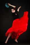Dance. Spanish girl with fan dancing flamenco Royalty Free Stock Photo