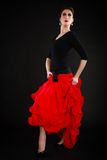 Dance. Spanish girl in red skirt dancing flamenco Stock Images