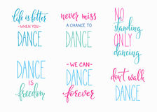 Dance studio quote lettering set Stock Image