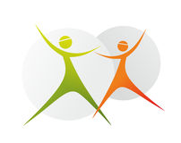 Dance. Stylized illustration of two colorful dancing figures Royalty Free Stock Photos