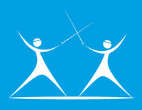 Dance. Stylized illustration of two dynamically fighting fencers Stock Photos