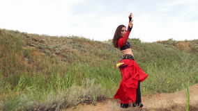 Dance with a sword. Tribal style stock footage