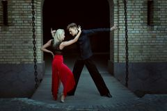 Dance of tango at night. Royalty Free Stock Photos