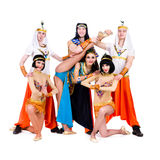 Dancers dressed in Egyptian costumes posing Stock Photography