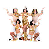 Dancers dressed in Egyptian costumes posing Stock Images