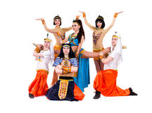 Dancers dressed in Egyptian costumes posing Stock Image