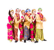 Dancers dressed in Indian costumes posing Royalty Free Stock Images