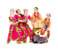 Dancers dressed in Indian costumes posing Stock Photos