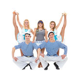 Dance team in sailor uniform posing Royalty Free Stock Image