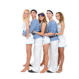 Dance team wearing a sailor uniform Royalty Free Stock Photos
