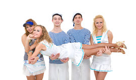 Dance team wearing a sailor uniform Stock Images