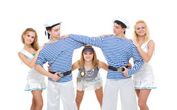 Dance team wearing a sailor uniform dancing Stock Photo