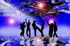 Dance to the music. An image showing stage with a group of six people dancing to the music with abstract lighting above and below them Stock Photos