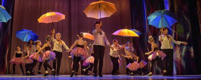 Dance with umbrellas Royalty Free Stock Photography