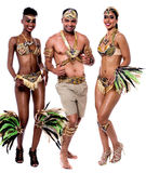 Dance with us, its time to celebrate !. Young samba dancers in performance over white Stock Images