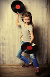 Dance with vinyl record Stock Photo