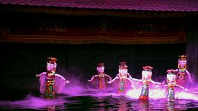 Dance of Water Puppets in Ha Noi Thang Long Theater stock footage