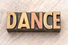 Dance - word abstract in wood type royalty free stock photography