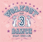Dance workout. Editable vector artwork for girl sportswear in custom colors, grunge effect in separate layers stock illustration