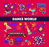 Dance world vector color flat glamor celebration poster. Dance world or party celebration poster for glamor luxury holiday fun. Vector design of disco club Stock Images