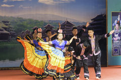 The dance of yao nationality. This photo was taken in The Zhudongtian scenic spot ,Rizhao city, Shandong province, china Stock Photos