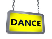 Dance on billboard. Dance on yellow light box billboard on white background Royalty Free Stock Images