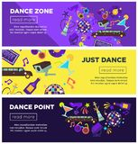 Dance zone promotional bright Internet posters templates set Royalty Free Stock Image