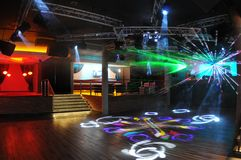 Dancefloor. Nightclub dancefloor with laser lighting Stock Photography