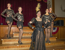 Dancehall Girls Entertain. Can-can dancers perform at Diamond Tooth Gertie`s Gambling Hall in Dawson City in Canada`s Yukon Territory on July 25, 2017.  The Royalty Free Stock Photo