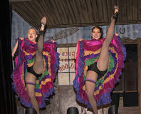 Dancehall Girls Entertain. Can-can dancers perform at Diamond Tooth Gertie`s Gambling Hall in Dawson City in Canada`s Yukon Territory on July 25, 2017.  The Royalty Free Stock Image