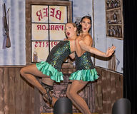 Dancehall Girls Entertain. Can-can dancers perform at Diamond Tooth Gertie`s Gambling Hall in Dawson City in Canada`s Yukon Territory on July 25, 2017.  The Royalty Free Stock Photography