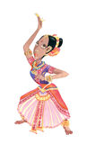 Dancer. Indian dancer in her traditional wedding dress. Watercolors illustration stock illustration