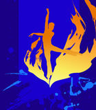 Dancer. Flamy silhouette on the  dark blue background Stock Image