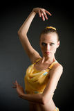 Dancer. Modern style dancer, on black background Royalty Free Stock Photo