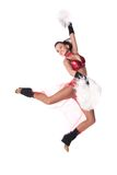 Dancer. Jumping  cheerleader on white background Stock Images