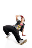 Dancer. Cool breakdancer isolated on white stock photo