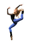 The dancer. Modern style dancer posing on studio background royalty free stock photography