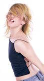 Dancer. Professional dancer mouving her blond hair royalty free stock photography
