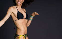 Dancer Female Torso Dancing Bikini Dark Background Royalty Free Stock Photo
