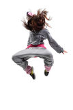 The dancer. Beautiful young hip-hop dancer posing on white background royalty free stock images