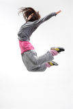The dancer. Beautiful young hip-hop dancer posing on white background royalty free stock photos